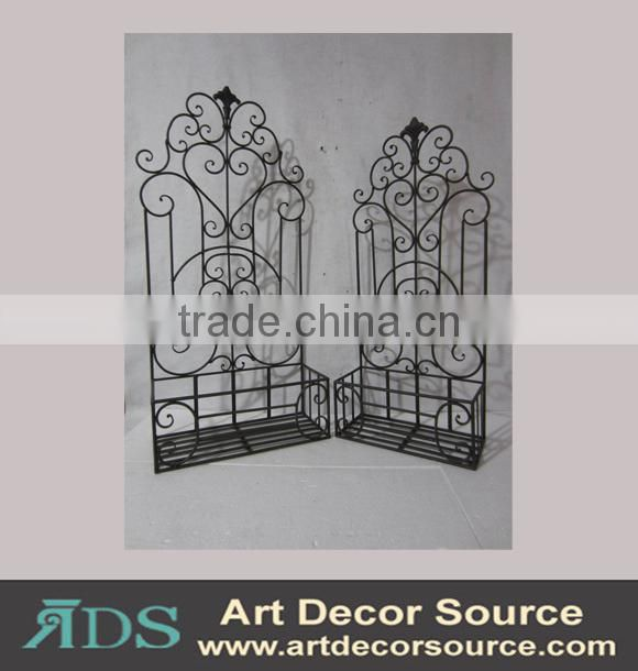 Vintage decorative metal wall shelf