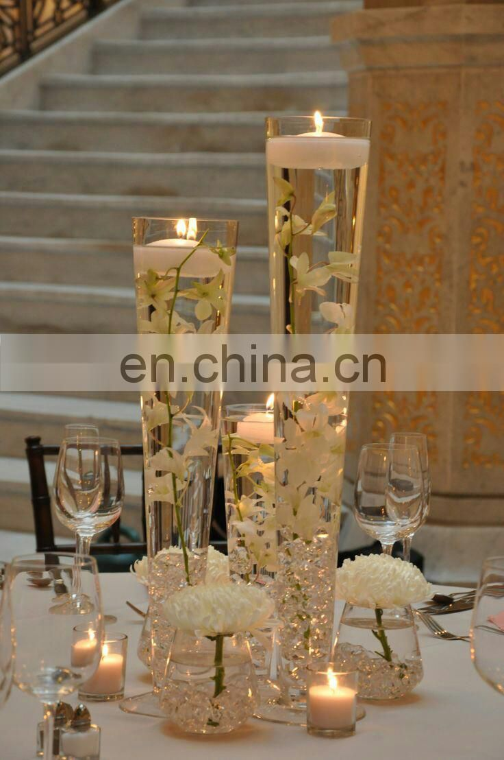 "16"",24""clear trupmet glass vase wedding table centerpiece flower holder cheap factory wholesale"