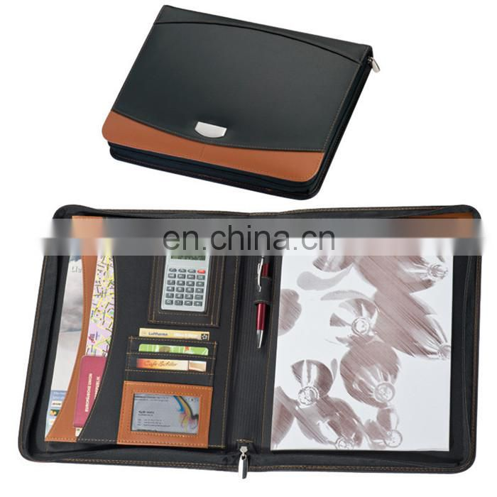 new European portable PU leather planner notebook set with mini calculator and cards/pen holder NOTEBO908-6