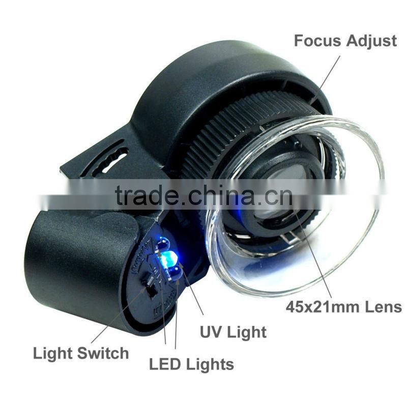 New Mini 45X Lighted Jewelers Loupe / Magnifier with LED & Fluorescence Lights