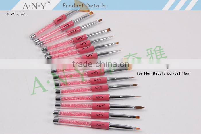 ANY High Quality Nail Art Beauty Care Wood Handle 15 Nail Brush Set