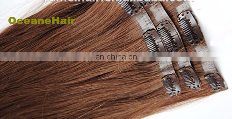 Thick ends 220g human Remy clips hair pu skin weft clip in hair extensions