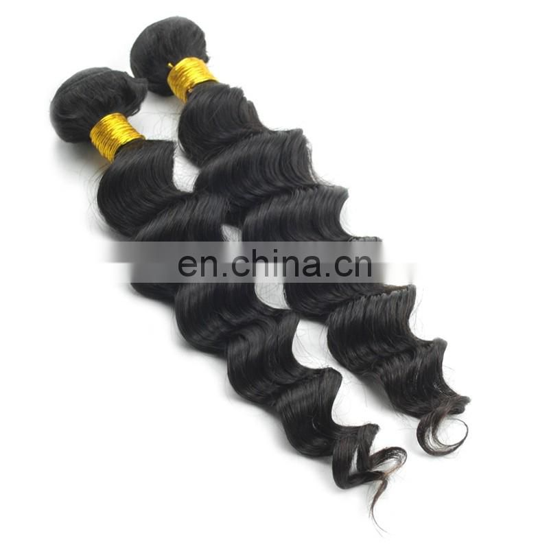 Grade 7a 100%unprocessed virgin mongolian hair extensions black color loose deep wave weaves hair style