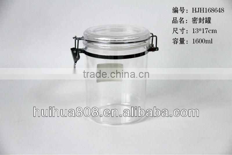 Round Clear Acrylic Canisters With Clip Lid