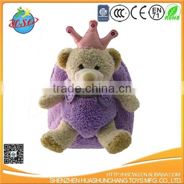 hot sales plush child school backpack bag &plush teddy bear