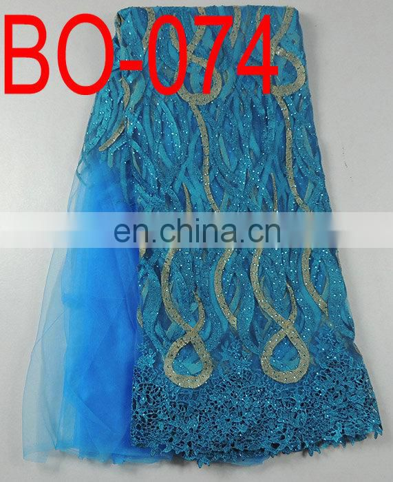 African beaded sequined french lace fabric(BO-073)