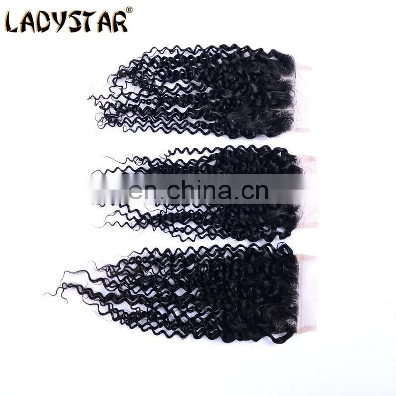 Cheap Brazilian Virgin Hair Kinky Curly Closure 100% Human Hair Lace Closure Natural Color