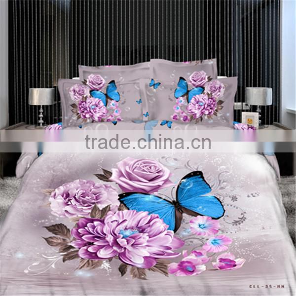 2016 new style 13372 40*40s reactive printed big 3D rose bedding sets