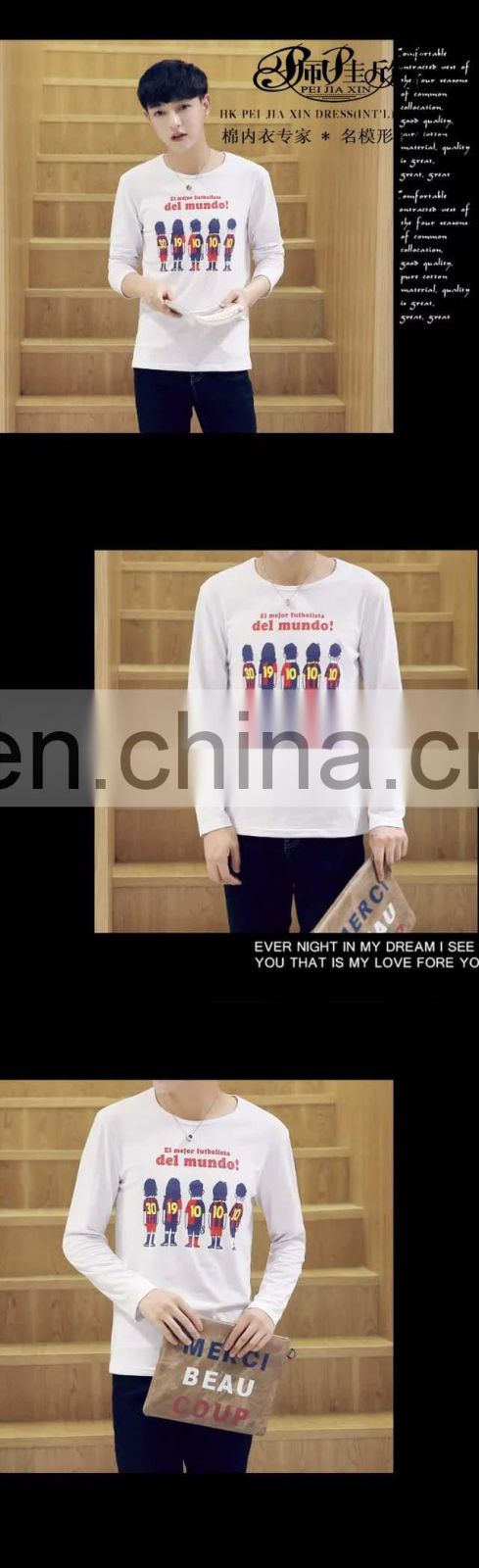 Peijiaxin Casual Style O-neck Soccer Printing Men Long Sleeves Cotton T-shirt