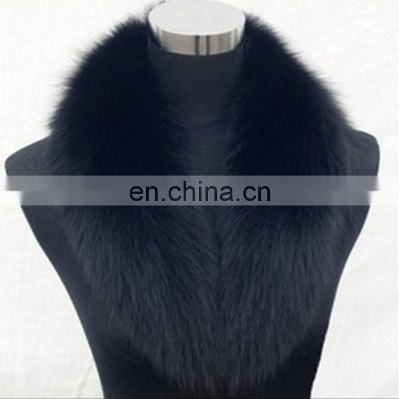 Black large pattern real fox fur shawl collar for lady garment winter warm