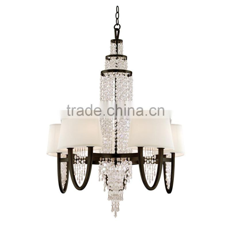 2016 new luxury home hotel decoration crystal chandelier modern wrought iron chandelier pendant light with white lampshade