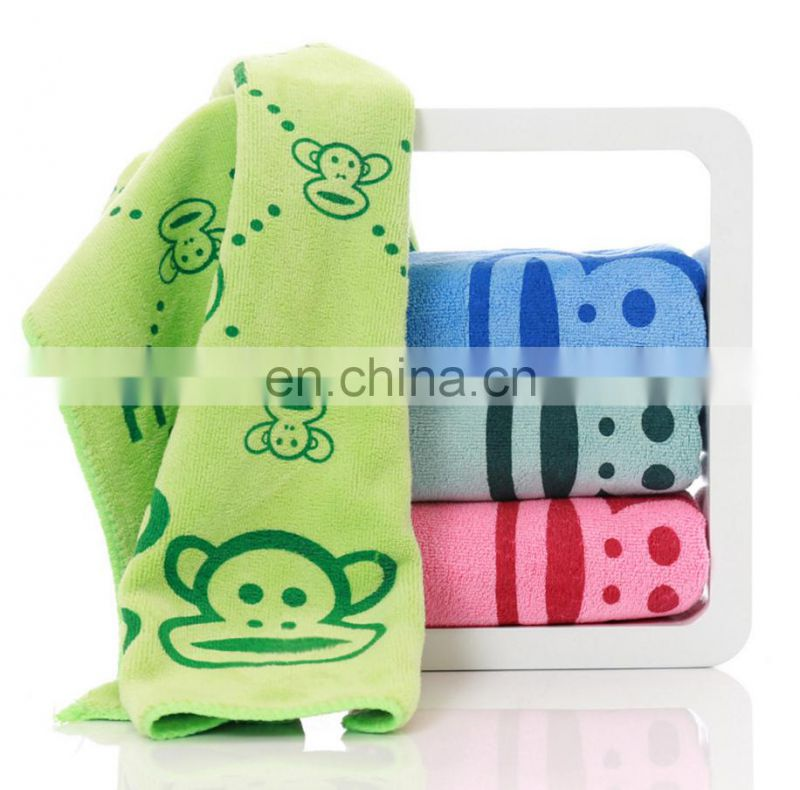 China monkey printing age group hotel hand microfiber little size towel soft and absorbed children hand towel