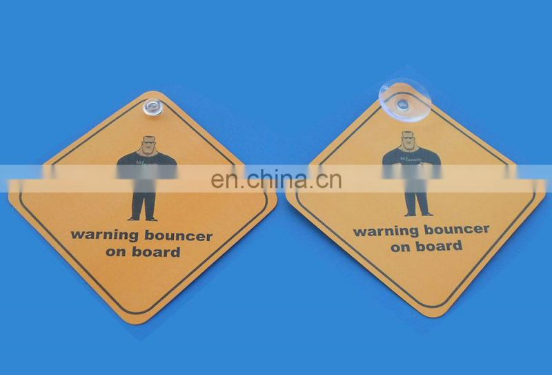 Custom Plastic Window Sticker Warning Bouncer on Board with Rubber Suction