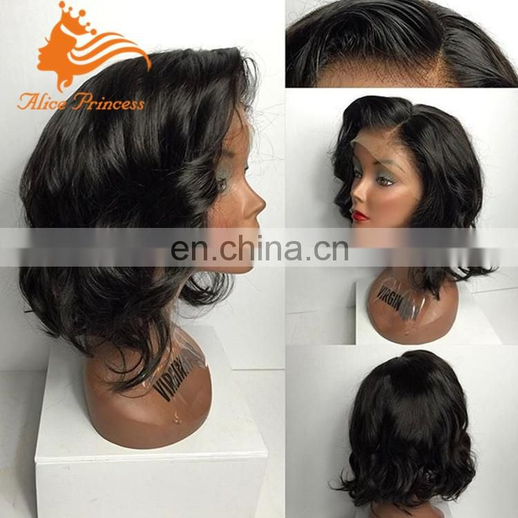 "Short Wavy 4""X4"" Silk Top Full Lace Wig Virgin Peruvian Bob style Human Hair Wigs for Black Women Lace Wig"