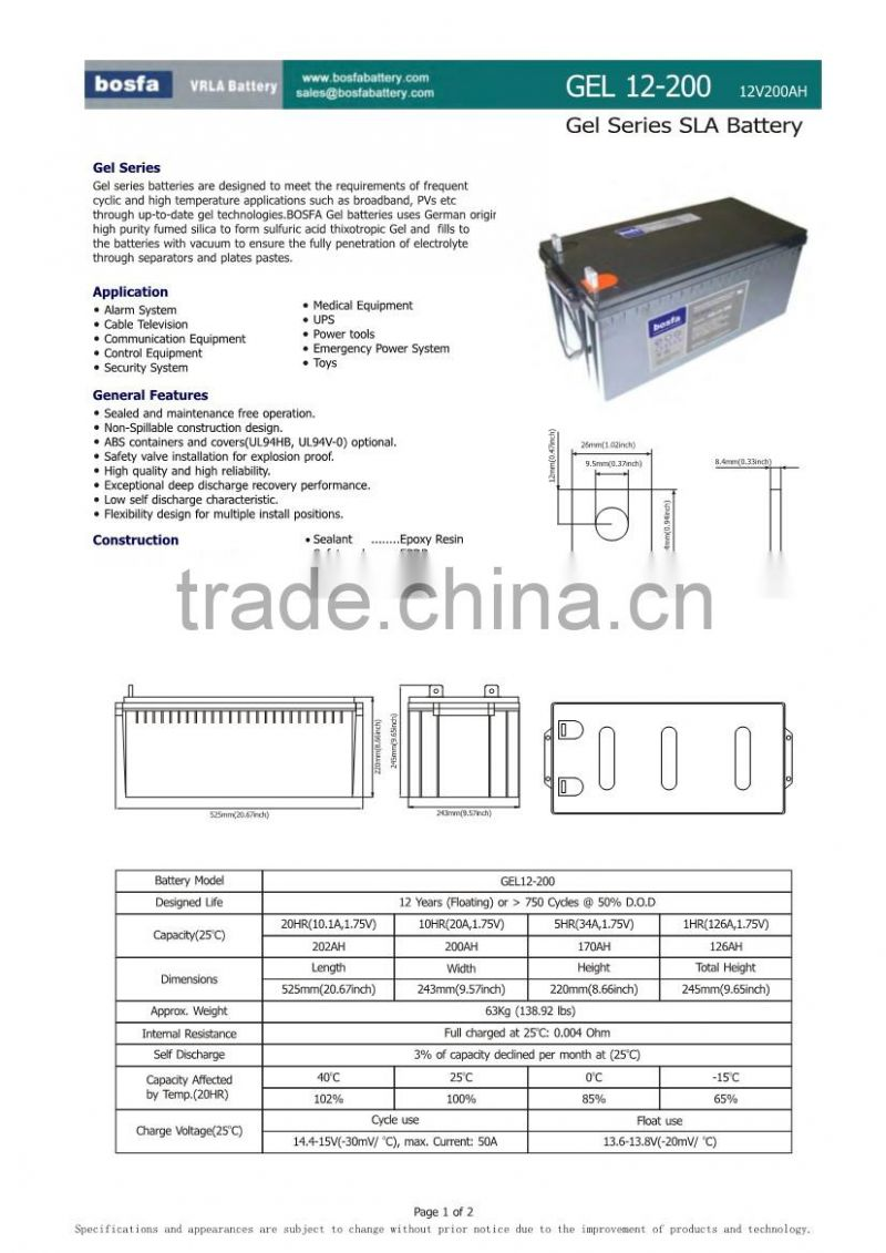 smf battery 12v 200ah deep cycle battery in china mainland