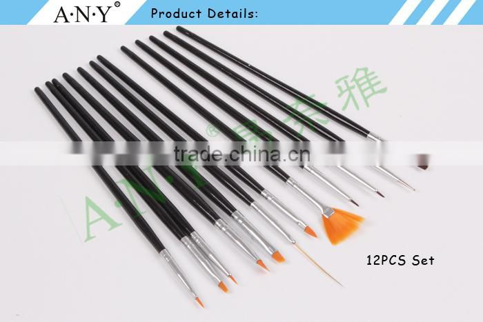 ANY Nail Art UV Gel Beauty Care Nail Painting Design Good Quality Nail Brush Set 12PCS