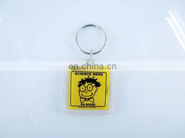 Oval shape custom card inserted Acrylic keychain