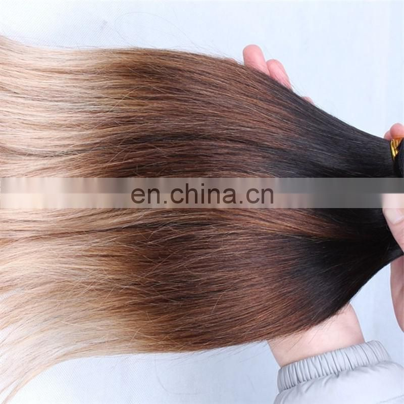 Fashion three tone human hair weave silky straight remy malaysian hair color 1b/33/18 hair produacts