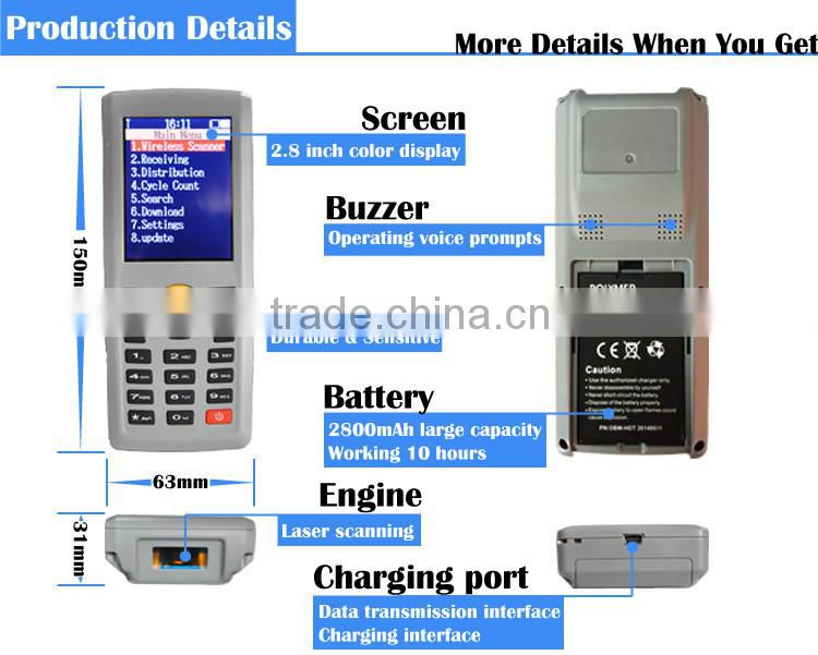 Wireless Laser Portable Barcode Data Collector Handheld Inventory