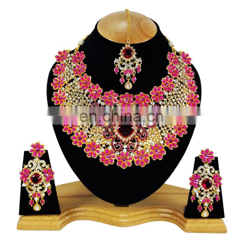 Beautiful Floral Designer Pink Color Gold Plated Kundan Zerconic Necklace Earrings Tikka