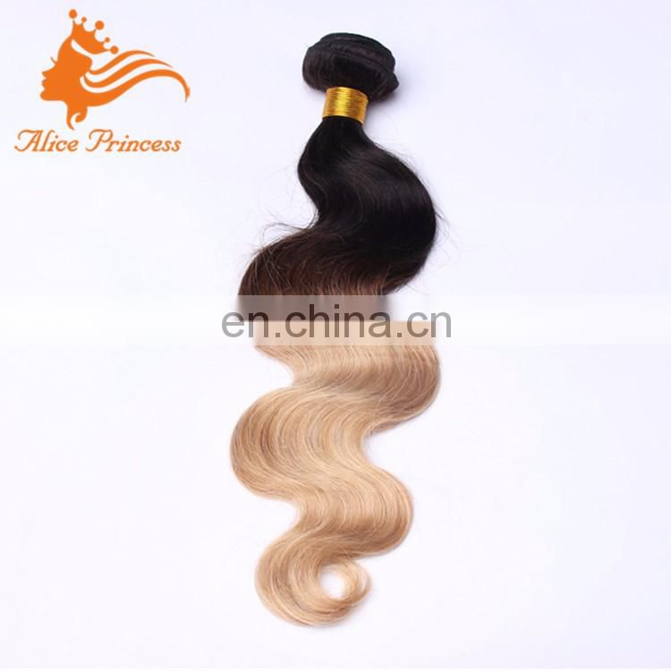 Ombre Two Tone Color 1BT27 Brazilian Virgin Human Hair Extension Weft 100 Grams Body Wave Styel Honey Blonde Hair Bundles