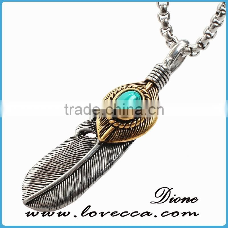 Alibaba Top Sale Ruby Stone Titanium Steel Skull Feather Necklace Jewelry Mens Turquoise Stone Stainless Steel Feather pendant