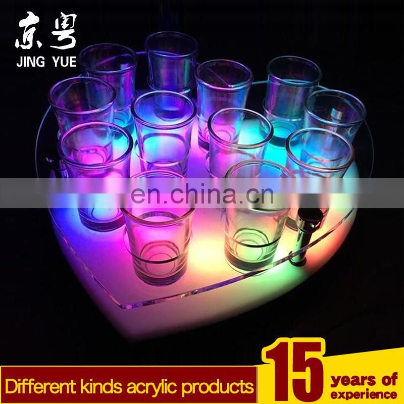 Pmma plexiglass acrylic lighted tray holder for beverage drink cup or bottle with led