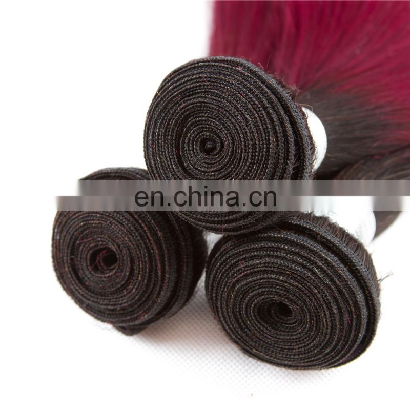 Wholesale china supplier silky straight 1b/bug fashion color ombre hair extensions Brazilian hair weave bundles
