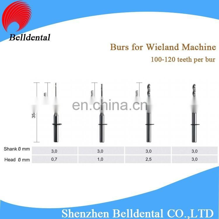 CAD CAM System DLC Coating Dental Zirconia Milling Burs for Wieland
