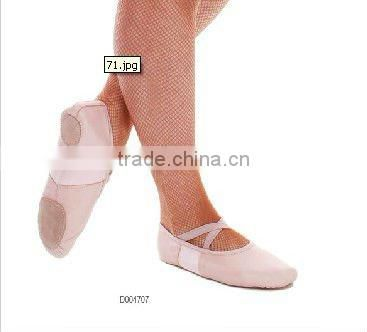 D004707 Dttrol women soft pig leather stretch band split sole pointe ballet flat shoes