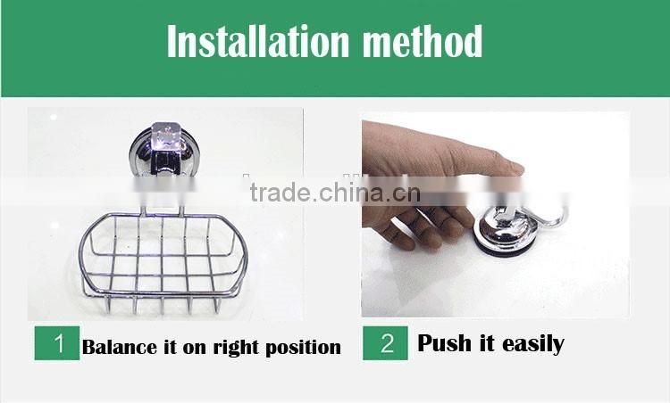 2016 No drilling No screw Easy Installation stainless steel wall mounted soap dish with strong vacuum suction hook