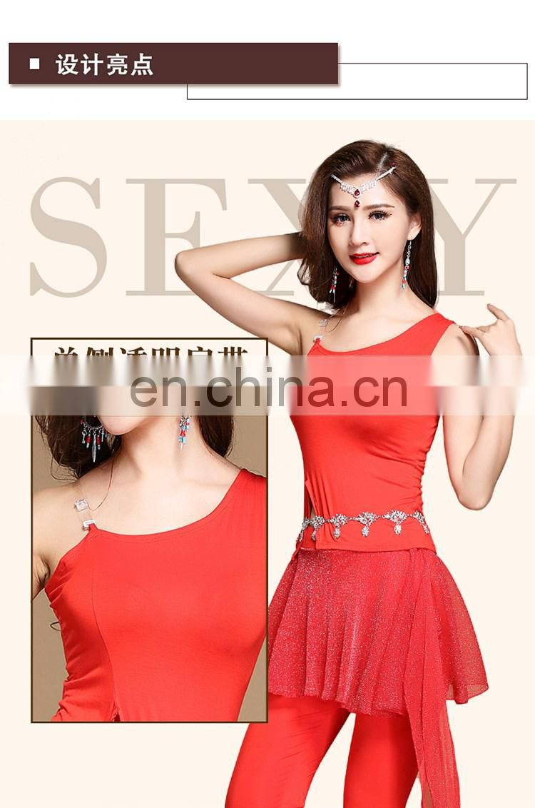 S-3112 Hot sexy modal single shoulder belly dance top