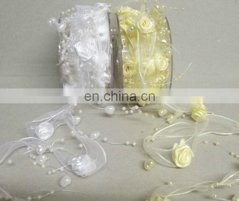 Wedding Ribbon Garland with Flowers and Beads