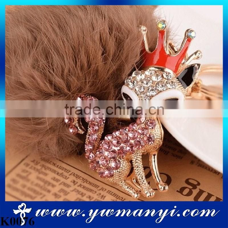 2016 New Rhinestone Animal Real Rabbit Fur Ball Fluffy Keychain Car Key Chain Ring Pendant For Bag Charm Alloy Keychain K0076