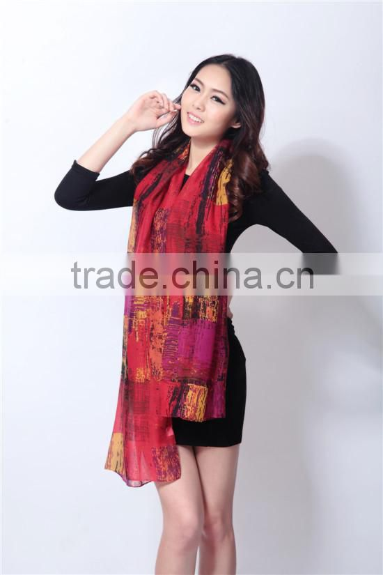 100% Polyester Printing All March Long Scarf/Shawl