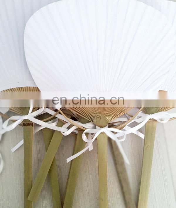Beach Favor Summer Wedding Outdoor Indoor Birthday Party Supplies White Paper Paddle Fan Bamboo Events Decor photography Props