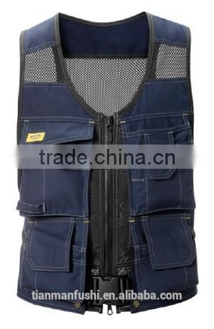 2015 Pretty Insulated Vest Workwear Quality Custom-made Cheap Hardwearing Working Vest Uniform With Four Pockets