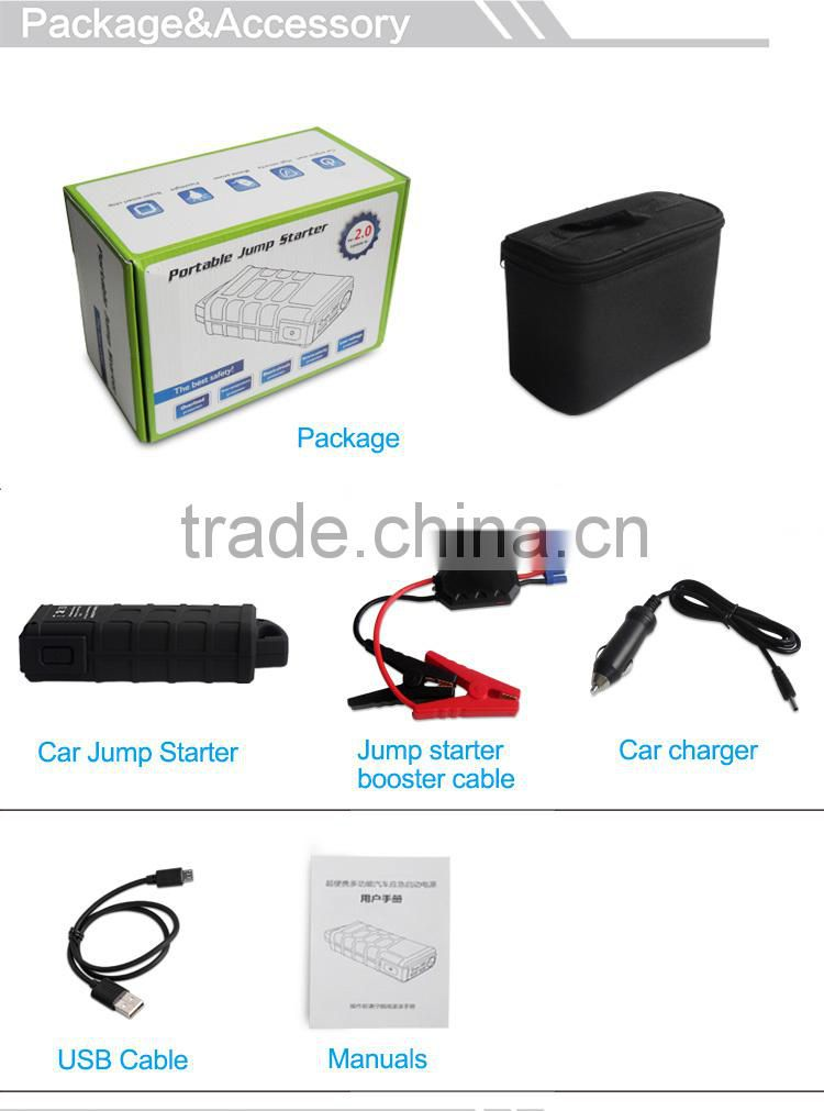 600A peak current 12000mAh 12v lithium battery 500 amp portable jump start with jumper cable
