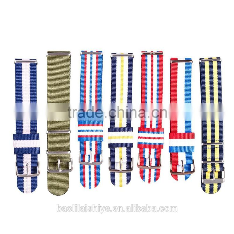New arrival leather nato strap with stainless steel buckle strap ,18mm 20 mm 22mm is available