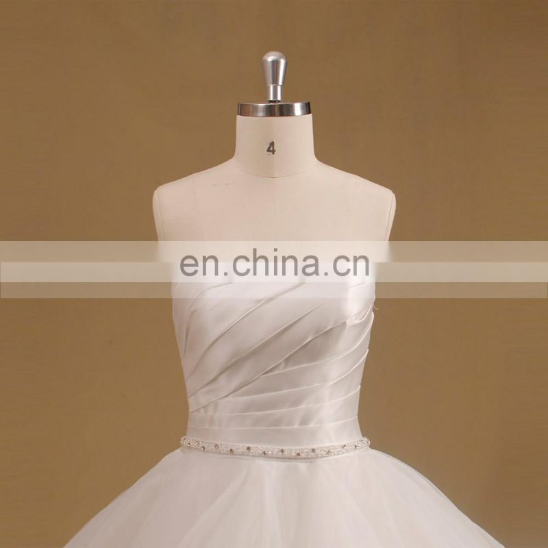 Lovely Sweet Heart Pleated Bodice Organza Ball Gown Wedding Dress Beaded Belt