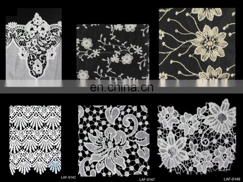 Newest design Embroidery mandarin flower jacquard cotton lace motif lace trimming LAC-1217