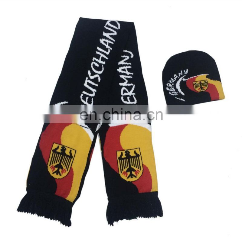 Germany Acrylic Knit Spandex hat and Scarf for Football Fans