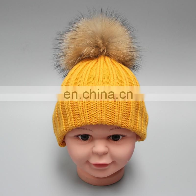 Wholesale Plan White Knitting Beanie Hat For Child With fur Ball Baby Hat