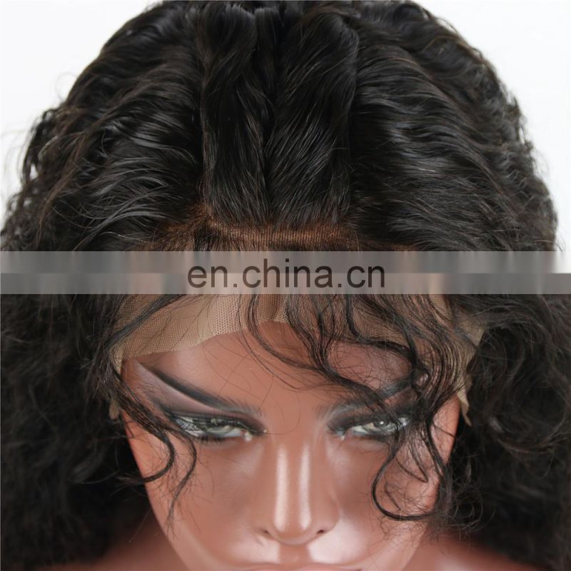 Cheapl lNDIAN human virgin remy 9A GRADE full lace wig in water wave style raw unprocssed hair