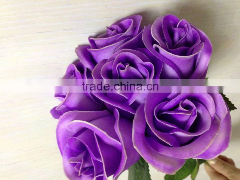 light peach flowers for crafting , artificial latex rose bud bouquet with 6 head for sale