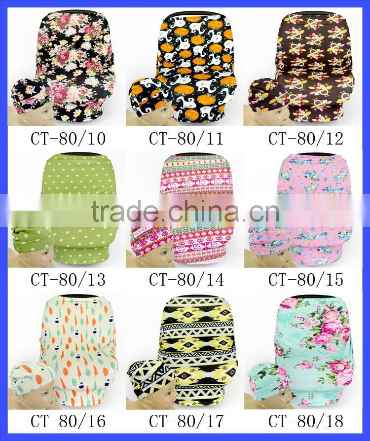 Dual purpose nursing wear breastfeeding / Baby car seat covers Aztec stretchy carseat covers