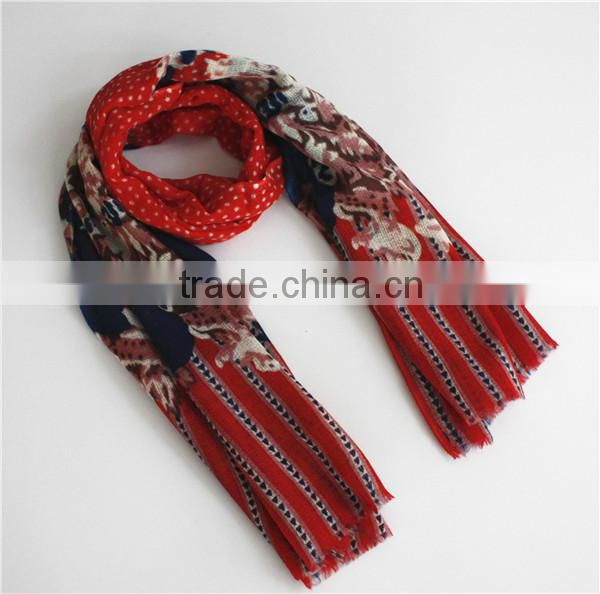 Dot and Flower Printed Wool Scarf