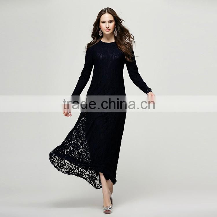 2016 Summer Fashion Women Ethnic Dress Ladies Round Neck Long Sleeve Mercerized Lining New Arrival Islamic Muslim Lace Dresses