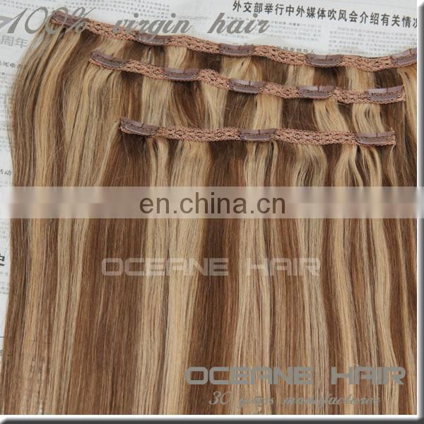 TOP quality piano color lace clip in hair extension