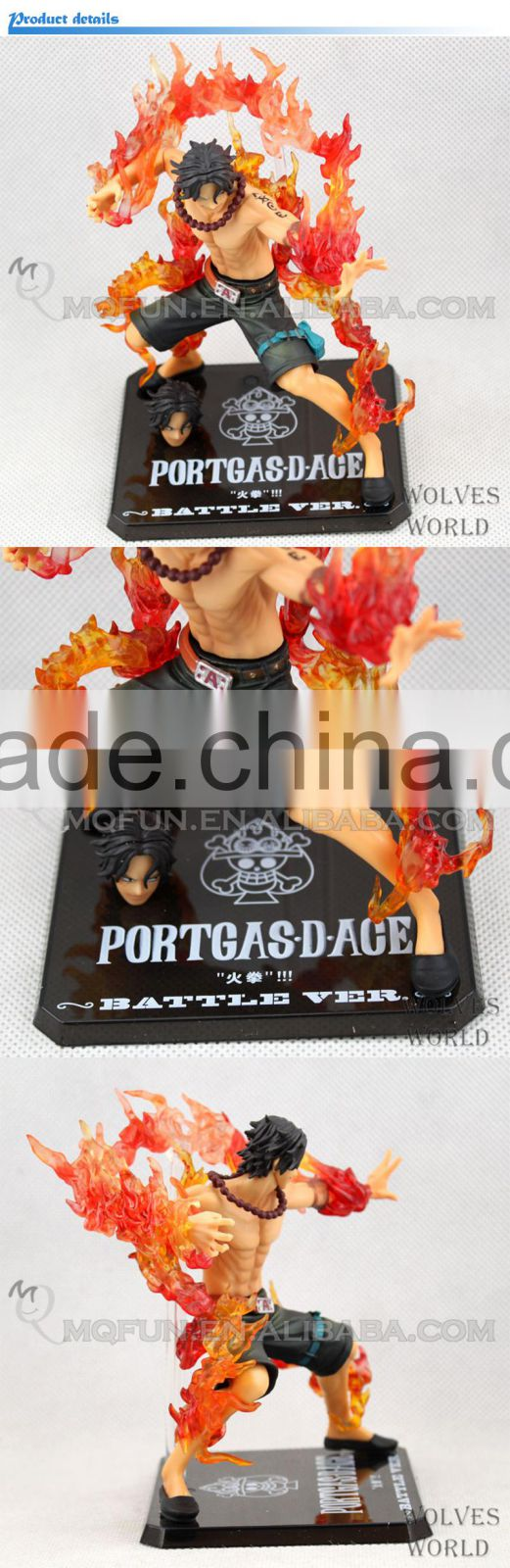 MINI QUTE 13 cm pirate Japanese anime one piece action figure Portgas D Ace with head parts brinquedos boys in box NO.MQ 064